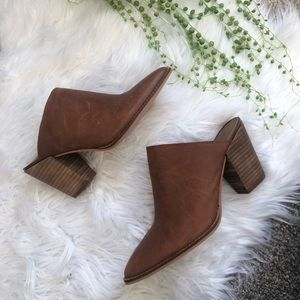 Lucky Brand leather heeled mules sz 8